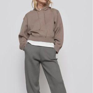 Zara Hooded Knit Sweatshirt